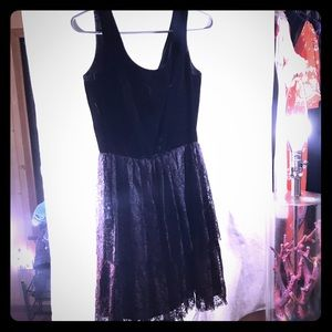 Vintage black velvet and ombré lace tulle dress